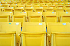 Yellow stadium seat. Plenty of yellow plastic seats at stadium Royalty Free Stock Images