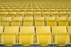 Yellow  stadium seats on the stadium sport Stock Image