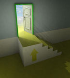 Yellow staircase doorway passage with arrow and flare Stock Image