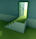 Yellow staircase doorway passage perspective Royalty Free Stock Photo