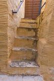 Yellow staircase in old town of Ermopoli, Syros, Greece Stock Photos