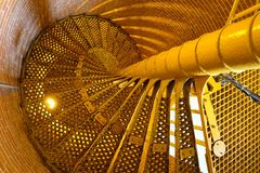 Yellow stairs at Barnegat Lighthouse Stock Photography