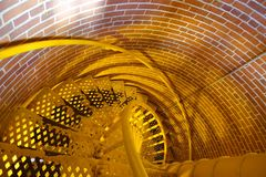 Yellow stairs at Barnegat Lighthouse Stock Images