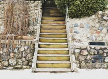 Yellow stairs Royalty Free Stock Images