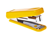 Yellow  stapler  (isolated). Yellow  stapler on a white background close-up (isolated Stock Image