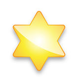Yellow Star with 6 corners. Nice illustration of a 3d look yellow 6-corner star on white background - good us for rating - vector available Stock Photo