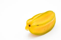 Yellow star apple fruit or carambola on white background Royalty Free Stock Images