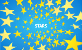 Yellow star background. Vortex of paper polygon. Vector banner. Vector vortex of star. Motion blurred polygons Stock Image