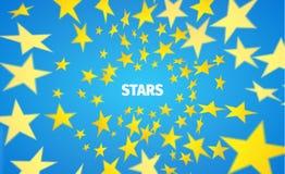 Yellow star background. Vortex of paper polygon. Vector banner. Vector vortex of star. Motion blurred polygons Stock Illustration