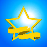 Yellow star and banner over blue sky Stock Photography