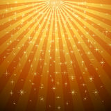 Yellow star burst with star fall Stock Photo