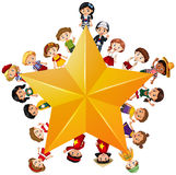 Yellow star with children on border Royalty Free Stock Photo
