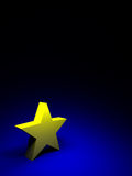 Yellow star on dark blue background Stock Photos