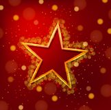 Yellow star frame on red background Stock Image