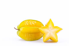 Yellow star fruit carambola or star apple  starfruit  on white background healthy star fruit food isolated Stock Images