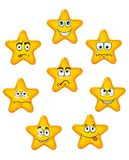 Yellow star icons with different emotions Royalty Free Stock Photos