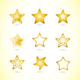Yellow star logo icon symbol set. Vector logo template of yellow star logo icon symbol set 3d Royalty Free Stock Photography