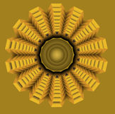Yellow star in op art style, golden symmetric circle element. Eps10 vector Royalty Free Stock Photography