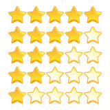 Yellow star rating set Stock Photography