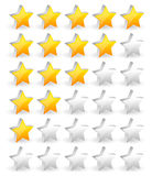 Yellow star rating system with rotated stars in perspective. Cla Stock Photography