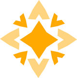 Yellow star shaped sign. Isolated on white background vector illustration