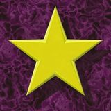 Yellow star texture. On purple background Stock Photo