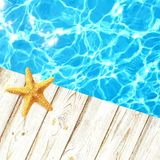 Yellow starfish lying on a light wooden boards of the pier. Clean clear blue water of the pool or sea. Stock Photos