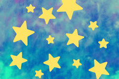 Yellow stars in blue. Yellow stars on the blurry blue background stock illustration
