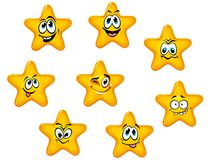 Yellow stars with emotional faces Royalty Free Stock Photo