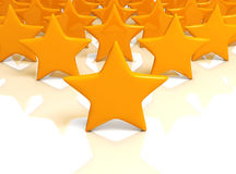 Yellow stars massive on white background Stock Photo