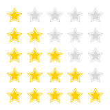 Yellow stars rating. Vector illustration. Royalty Free Stock Image