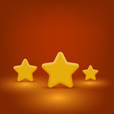 Yellow Stars Set. 3d Vector Realistic Mat Yellow Stars Set. Scene With Light Stock Photos