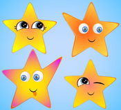 Yellow stars with smiling faces, eyes, mouth and brushes. Stock Photography