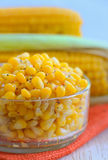 Yellow steamed corn in a bowl Stock Images