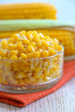 Yellow steamed corn with salt and pepe Stock Photography