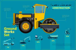 Yellow steamroller. Blue infographic set, ground works blue machines vehicles. Yellow steam roller, road roller. Blue infographic big set of ground works blue Stock Image