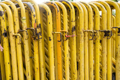 Yellow Steel barrier. Row of yellow Steel barriers Royalty Free Stock Photos
