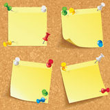 Yellow stick note. Blank notes pinned on corkboard ready for your text. Front view. Vector illustration. Set Royalty Free Stock Photo