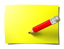 Yellow stick note with pencil Stock Images