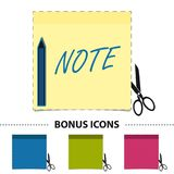 Yellow Stick Note With Scissor, Pen And Cut Line On White - Vector Illustration - Bonus Icons Royalty Free Stock Photo