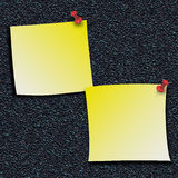 Yellow Stick Notes with push pins Royalty Free Stock Photos