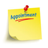 Yellow Stick Red Pin Appointment. Yellow stick with red pin and text Appointment vector illustration