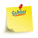Yellow Stick Red Pin School. Yellow stick with red pin and text School vector illustration