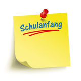 Yellow Stick Red Pin Schulanfang. German text Schulanfang, translate Enrollment royalty free illustration