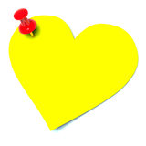 Yellow sticker. In the shape of heart Stock Photos