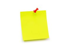 Yellow sticker note. Isolated  on the white Royalty Free Stock Image