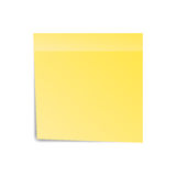 Yellow sticker paper note for notice. Sticky page. Blank with shadow isolated on white background. Vector illustration Stock Photography