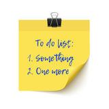 Yellow sticker paper post it checklist Royalty Free Stock Images