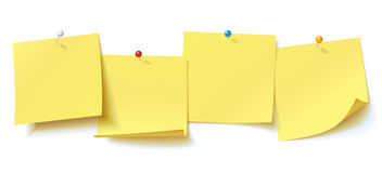 Yellow sticker pinned pushbutton with curled corner, ready for your message Stock Photography