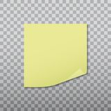 Yellow sticker pinned red with curled corner, ready for your message. Vector illustration. Stock Images